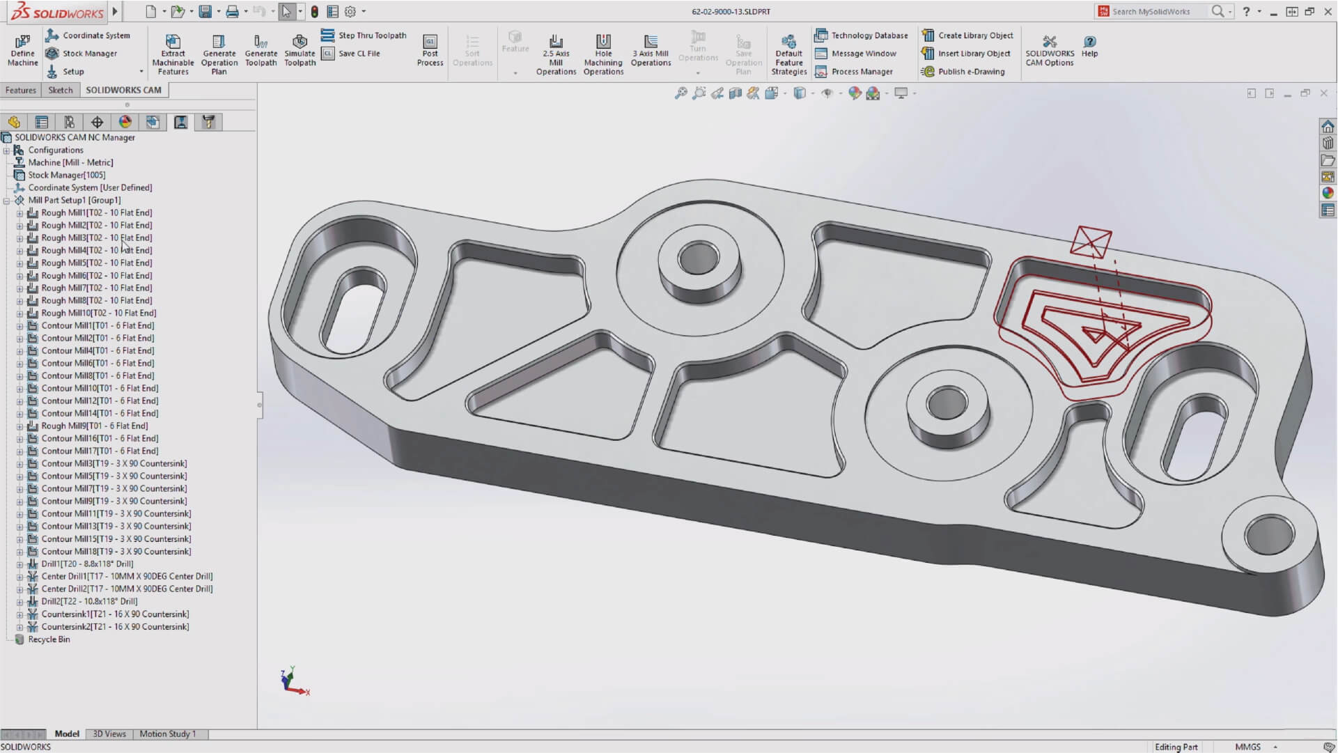 SOLIDWORKS CAM Toolpath