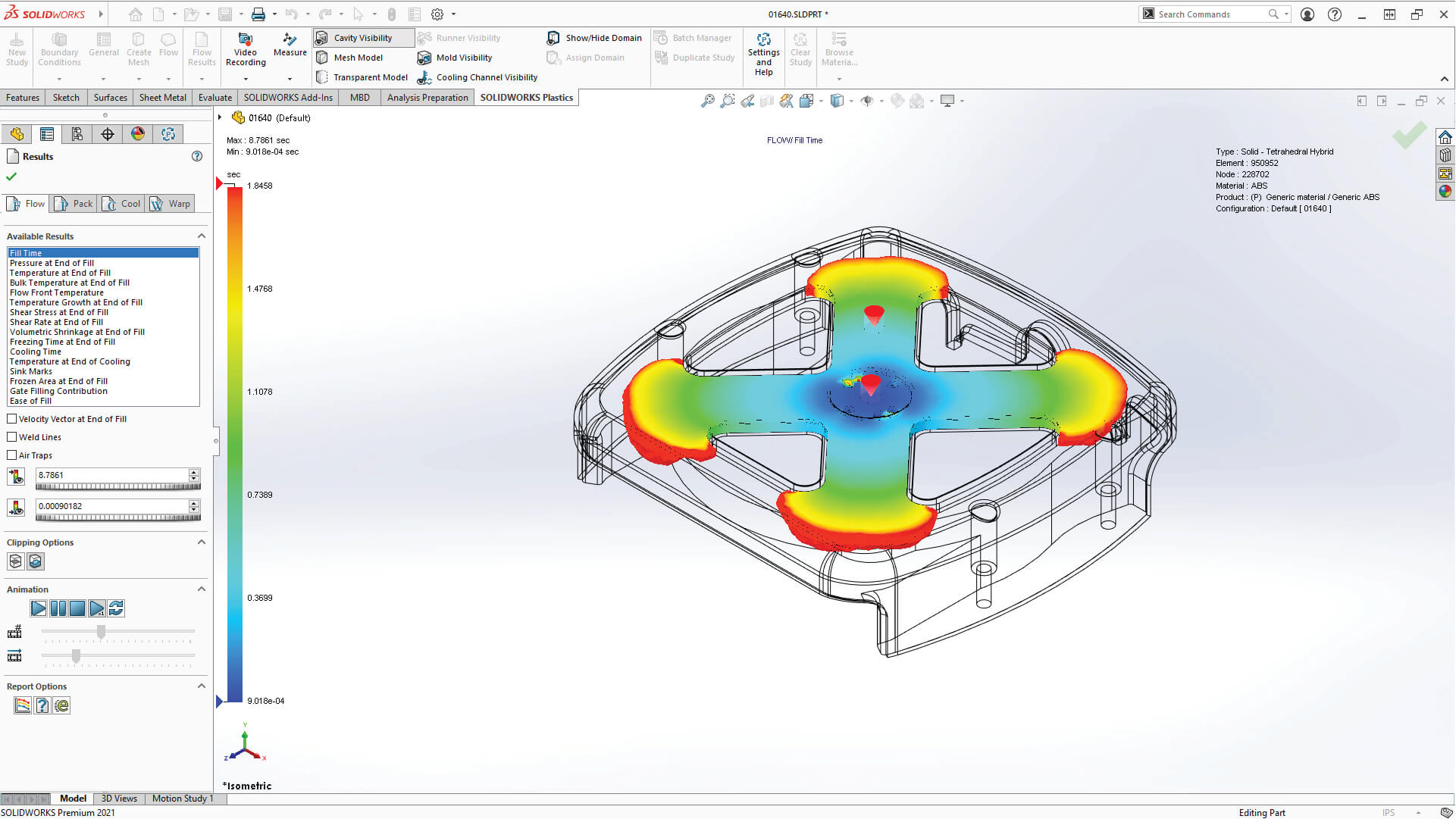 SOLIDWORKS Plastics available results