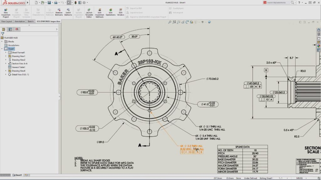 SOLIDWORKS Inspection Drawing